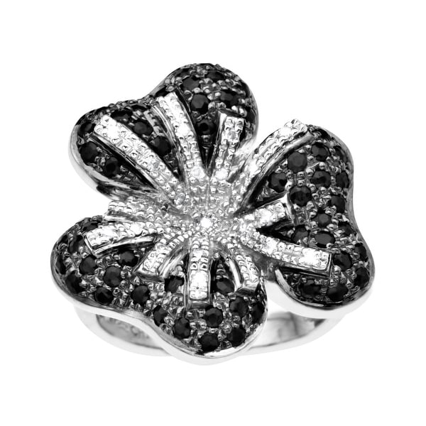 Sapphire and 1/6 ct Diamond Flower Ring in Sterling Silver