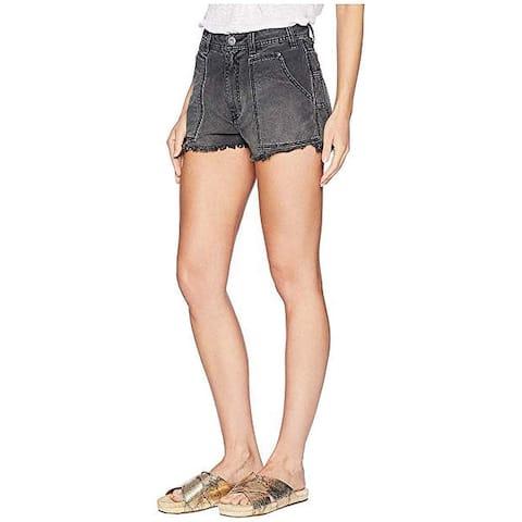 Free People Washed Black Women's Size 2 Cut Off Frayed Hem Shorts