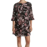 Jessica Howard Black Women's Size 6 Floral Print Ruffle Shift Dress
