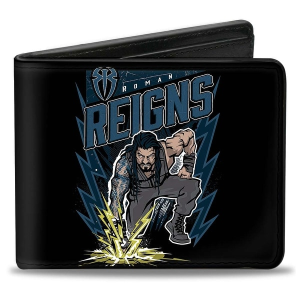 Roman Reigns Electrified Pose + Icon Roman Reigns Hit Hard Hit Often Black Bi-Fold Wallet - One Size Fits most