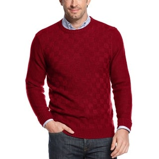 Geoffrey Beene Basketweave Crewneck Sweater Red Wine Large L