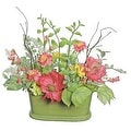 """15"""" Red Poppy and Orange Wildflower Artificial Floral Table Top Decoration with Oval Pot - Thumbnail 0"""