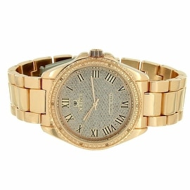 Mens Rose Gold Watch Ice Time Genuine Diamonds 0.10 CT Stainless Steel Back
