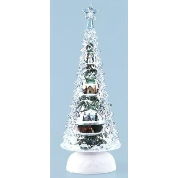 "11.5"" Icy Crystal LED Lighted Rotating Musical Train Christmas Tree Decor"
