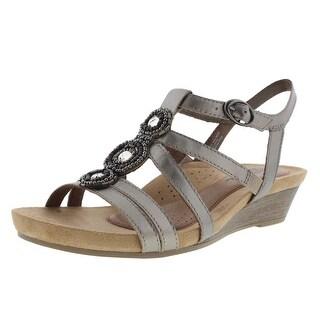 Cobb Hill Womens Leather Embellished Wedge Sandals - 9.5 medium (b,m)