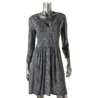 Tory Burch Womens V-Neck Printed Cocktail Dress - L