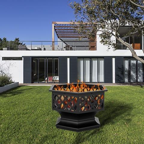 "24"" Outdoor Hexagonal Shaped Iron Brazier Wood Burning Fire Pit"