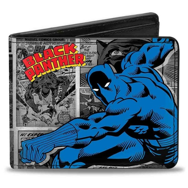 Marvel Comics Black Panther Action Pose Comic Blocks Grays Yellow Red Blue Bi-Fold Wallet - One Size Fits most