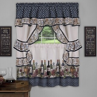 Chateau 3-Piece Kitchen Curtain Valance & Tiers Cottage Set, Navy, 57x36