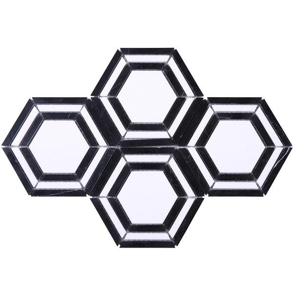 TileGen. Large Triple Hexigon Marble Tile in Black/White Floor and Wall Tile (10 sheets/9sqft.). Opens flyout.