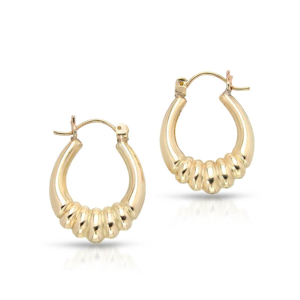 Mcs Jewelry Inc 10 KARAT YELLOW GOLD HOOP EARRINGS WITH DESIGN (22MM DIAMETER) - Thumbnail 0