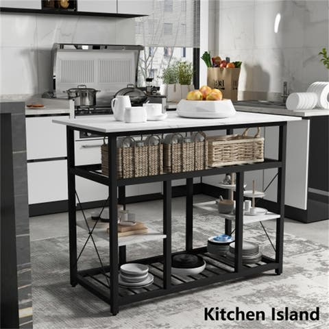 [Pre-Sale]Counter Height Kitchen Island Rack with Large Worktop,White