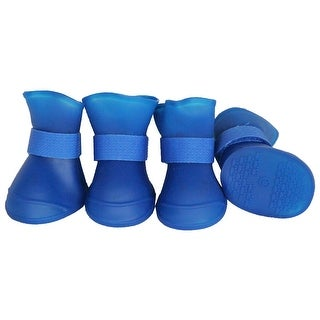 Elastic Protective Multi-Usage All-Terrain Rubberized Dog Shoes, Blue, Medium