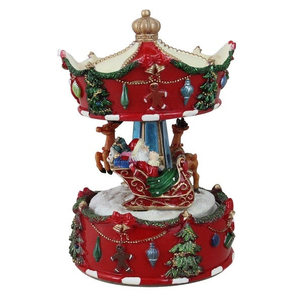"""6.75"""" Animated Musical Santa and Reindeer Carousel Christmas Decoration - RED"""