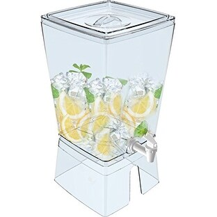 Palais Dinnerware Elegent Square Juice and Water Dispenser with Stand, 2.5 gal