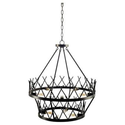 """Mercana Greer (27""""x 32.5"""") Black Metal Two-Tier Chassis Nine Bulb Chandelier - 27.0L x 27.0W x 32.5H"""