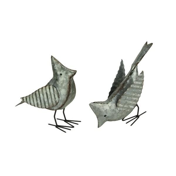 Rustic Galvanized Metal Bird Decorative Sculptures Set of 2 - 7 X 8.75 X 3 inches