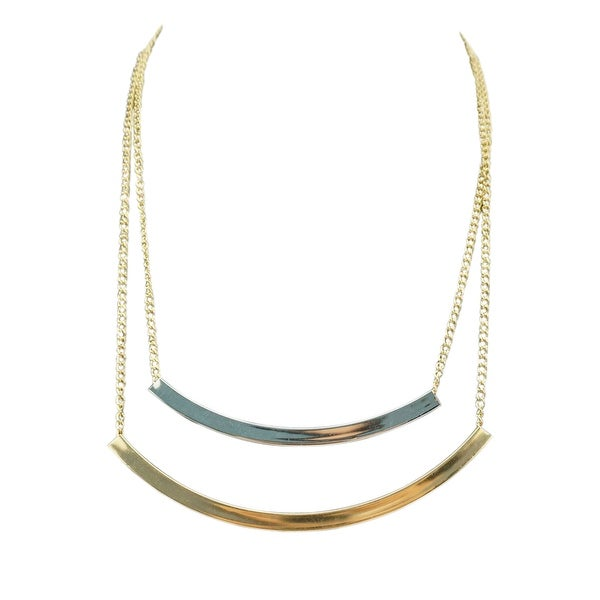 max & MO Gold and Silver Double Bar Necklace - gold-silver