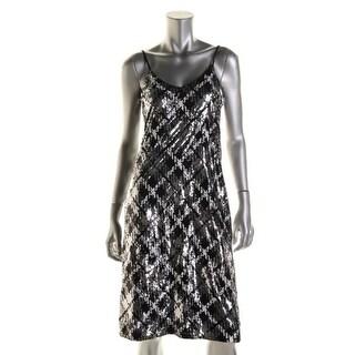 MICHAEL Michael Kors Womens Sequined Adjustable Straps Slip Dress - M