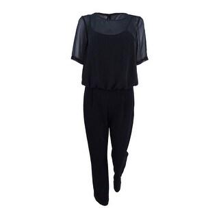 Calvin Klein Women's Chiffon-Overlay Jumpsuit - Black