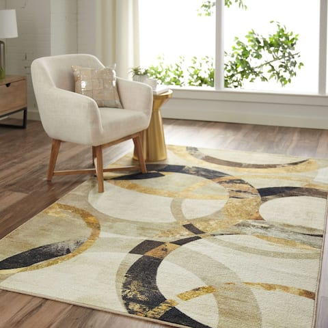 Mohawk Home Mirrored Rings Abstract Area Rug