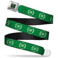 Green Lantern Logo Close Up Black Green Lantern Logo Weathered Greens Seatbelt Belt