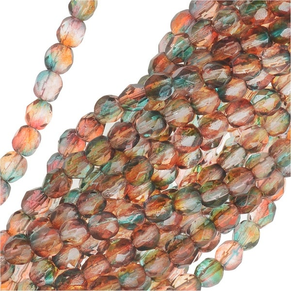 Czech Fire Polished Glass Beads 4mm Round Two Tone Teal/Topaz (50)