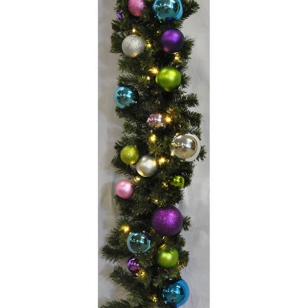 Christmas at Winterland WL-GARBM-09-VIC-LWW 9 Foot Pre-Lit Warm White LED Blended Pine Garland Decorated with Victorian