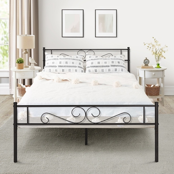 Premium Graceful Scroll Black Iron Metal Bed by VECELO