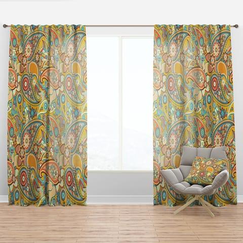 Designart 'Pattern Paisley' Vintage Curtain Panel