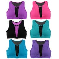 Women 6 Pack Mesh Out Solid Color Padded Sports Yoga Bras