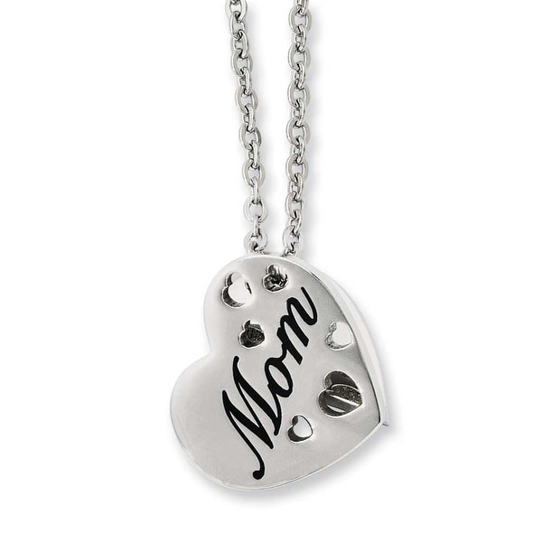 Stainless Steel Mom Heart Slide Pendant 20in Necklace (2 mm) - 20 in