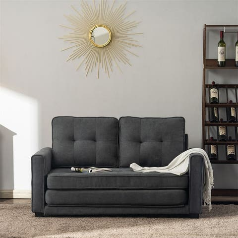 Back Pull Point Double Sofa Bed Grey Sofa Bed Simple Nordic Style