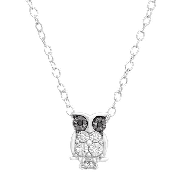Teeny Tiny Owl Pendant Necklace with White and Black Diamonds in Sterling Silver, 17""