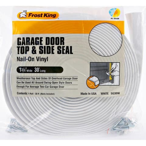"Frost King SG30WH Vinyl Garage Door Top & Side Weather Seal, White, 1-3/4""x30'"