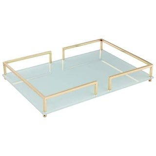 Cyan Design Large Contempo Noir Tray Contempo Noir 26 Inch Wide Iron and Glass Tray