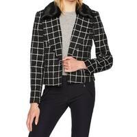 Nine West Black White Womens Size 12 Faux Fur Geo-Pattern Jacket