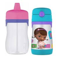 Thermos Foogo 11 Oz. Hard Spout Sippy Cup & 10 Oz. Doc McStuffins Straw Bottle
