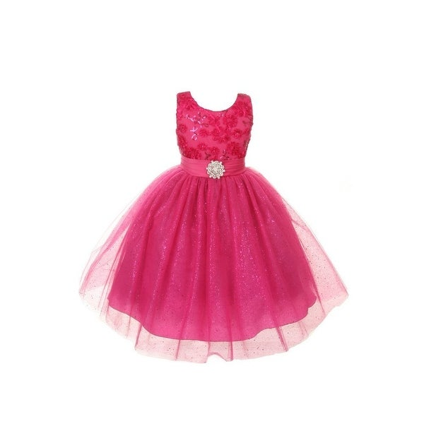 2aee6dc812 Rain Kids Little Girls Fuchsia Sparkly Special Occasion Dress 4-6