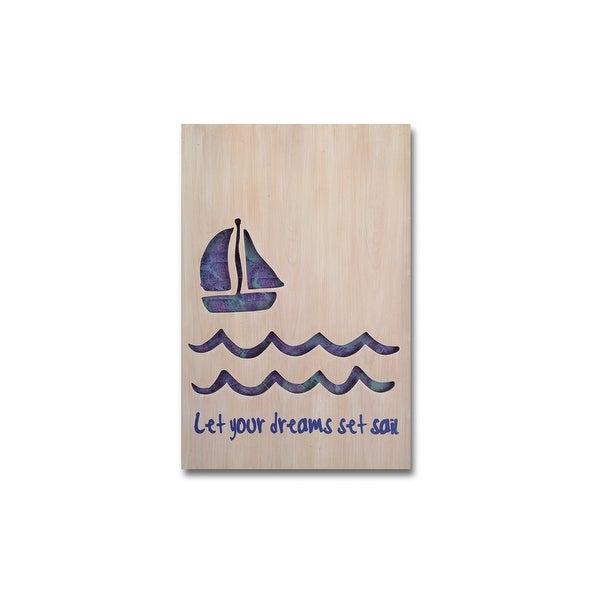 "23.25"" Blue and Beige ""Let Your Dreams Get Sail"" Wall Plaque - N/A"