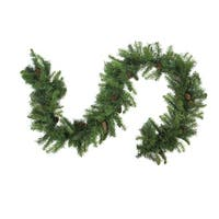 "9' x 16"" Dakota Red Pine Artificial Christmas Garland with Pine Cones - Unlit - green"