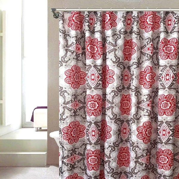 Jennifer Damask Printed Canvas Shower Curtain, Red, 70x72 Inches