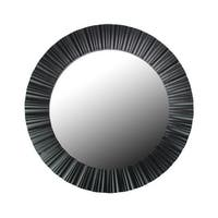 "20"" Simply Elegant Black Fluted Frame Round Wall Mirror"