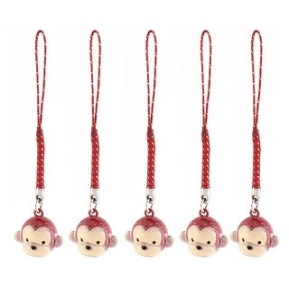 Unique Bargains Metal Monkey Cartoon Design Lucky Ring Bells Frosted Red 22mm Diameter 5 Pcs