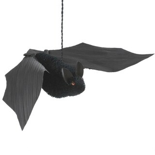 "18.25"" Large Bristled Black Bat Hanging Halloween Figure"