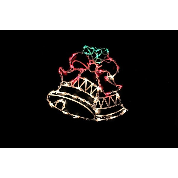 "18"" Lighted Two Bells with Bow Christmas Window Silhouette Decoration"
