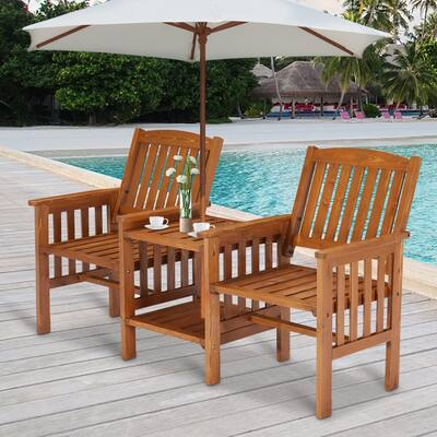 Kinsunny Outdoor Wood Patio Loveseat with Coffee Table 2 Person Wooden Chairs Set Patio Conversation Set for Garden Backyard