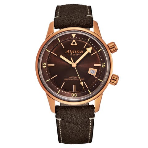Alpina men's al-525br4h4 'seastrong' diver heritage brown dial bronze pvd automatic watch set