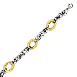 Chisel Stainless Steel Polished & Yellow IP-plated 8in Bracelet