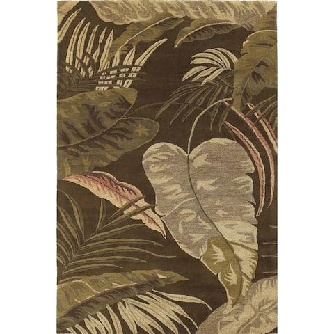 Domani Camila Mocha Tropics Hand-tufted Wool Area Rug